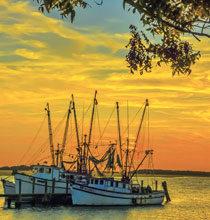 Beauty-of-Beaufort-Ellen-Corbett-Sunset-w-Shrimp-Boats